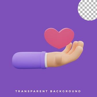 3d, geste main, illustration, coeur, icône, isolé, actifs, haute qualité