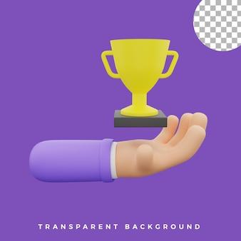 3d, geste main, illustration, coupe, trophée, icône, isolé, actifs, haute qualité