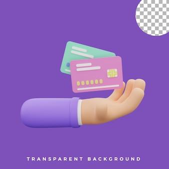 3d, geste main, illustration, crédit, débit, carte, icône, isolé, actifs, haute qualité