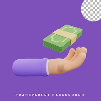3d, geste main, illustration, dollars, icône, isolé, actifs, haute qualité