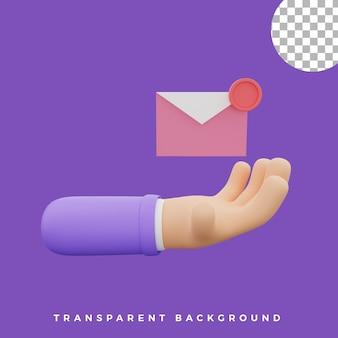 3d, geste main, illustration, e-mail, notification, icône, isolé, actifs, haute qualité