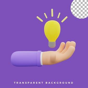 3d, geste main, illustration, lampe, ampoule, idée, icône, isolé, actifs, haute qualité