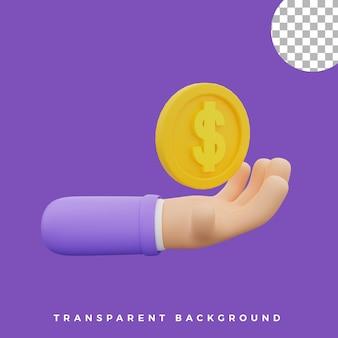 3d, geste main, illustration, pièce monnaie, icône, isolé, actifs, haute qualité