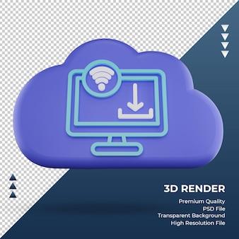 3d icône internet nuage télécharger signe rendu vue de face