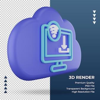 3d icône internet nuage télécharger signe rendu vue gauche
