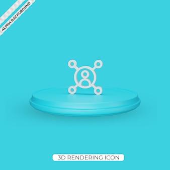 3d icône de rendu de connexion de médias sociaux isolé