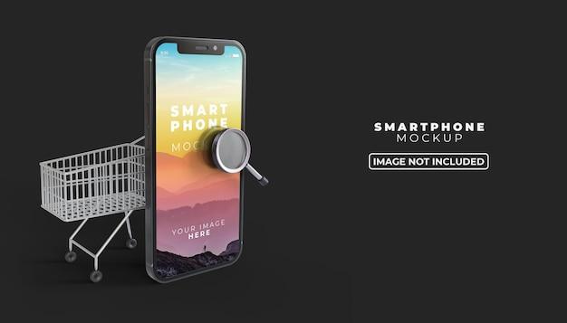 3d illustration achats en ligne sur mobile avec maquette d'écran de smartphone