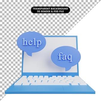 3d illustration de l'aide faq sur ordinateur portable