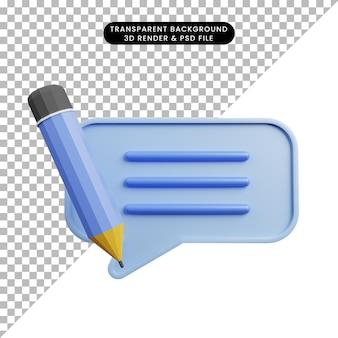 3d illustration de bulle de discussion avec un crayon