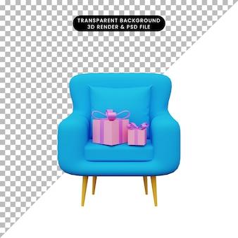 3d illustration de cadeau sur canapé
