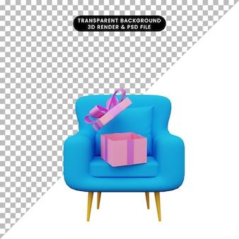 3d illustration de cadeau ouvert sur canapé