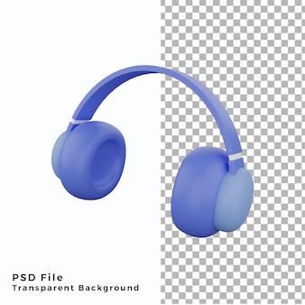 3d illustration casque musique icône élément objet actifs