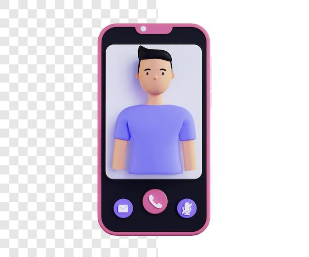 3d illustration concept d'appel vidéo avec guy
