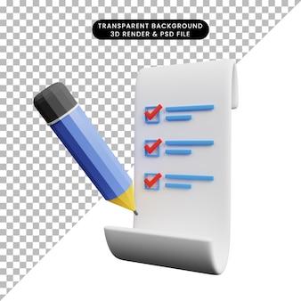 3d illustration du papier de concept de liste de contrôle avec un crayon