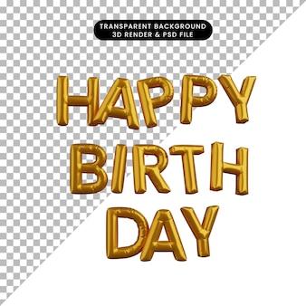 3d illustration du texte joyeux anniversaire ballon d'or concept