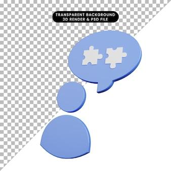 3d illustration de l'icône de personnes avec chat bulle puzzle