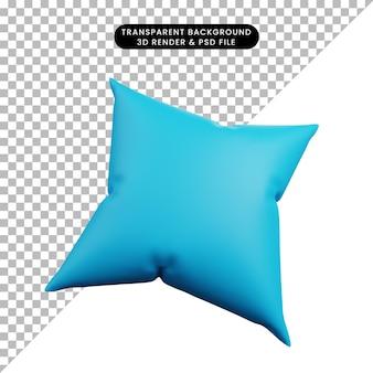3d illustration de l'icône simple de l'oreiller bleu