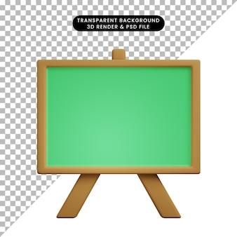 3d illustration de l'icône simple tableau vert