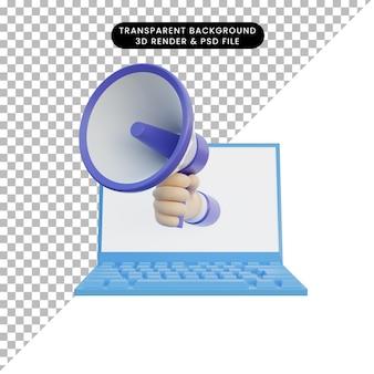 3d illustration main d'ordinateur portable