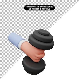 3d illustration de la main tenant l'haltère