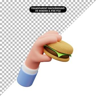 3d illustration de main tenant un hamburger