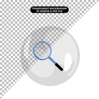3d illustration de l'objet grossissant à l'intérieur des bulles