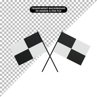 3d illustration objet simple icône course drapeau