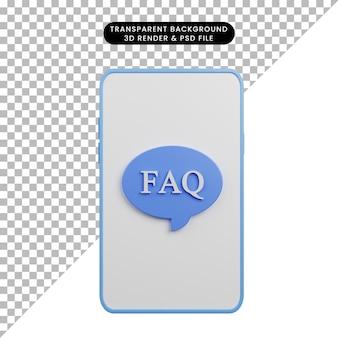 3d illustration de smartphone avec faq