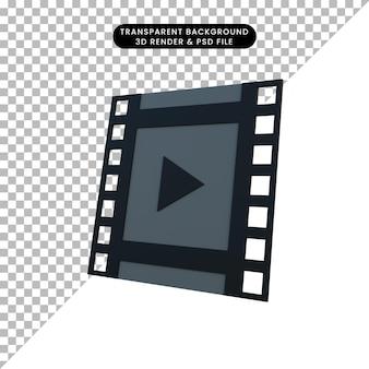 3d illustration smiple icône vidéos film
