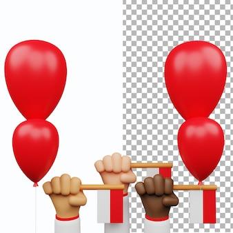3d indonésie fête de l'indépendance modèle aset geste de la main drapeau blanc rouge ballon