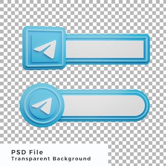 3d inférieur troisième télégramme logo icône de médias sociaux bundle diverses formes de haute qualité