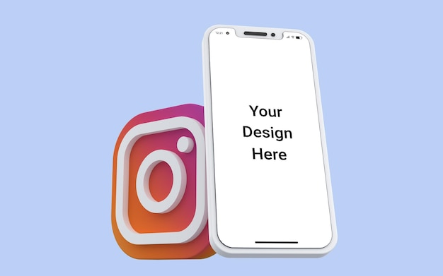 3d instagram icônes médias sociaux avec maquette de téléphone mobile