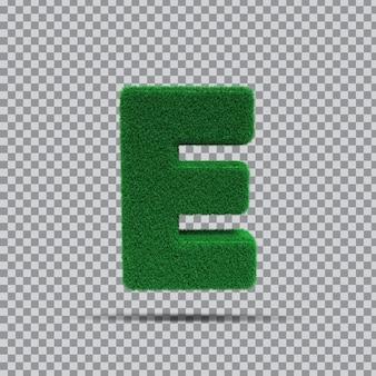 3d lettre e de vert d'herbe