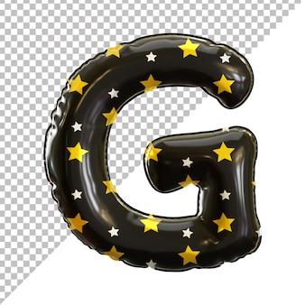3d lettre g alphabet ballon feuille noire thème halloween
