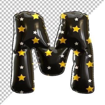 3d lettre m alphabet ballon feuille noire thème halloween