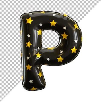 3d lettre p alphabet ballon feuille noire thème halloween
