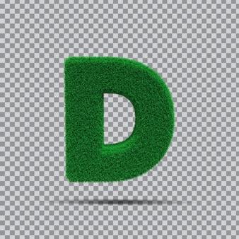 3d lettre d de vert d'herbe