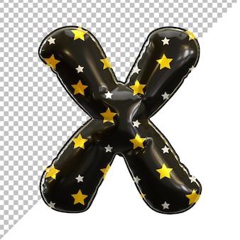 3d lettre x alphabet ballon feuille noire thème halloween