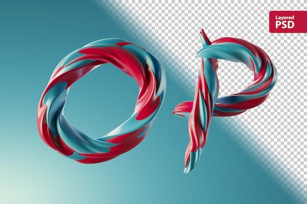 3d lettres op faites de deux tourbillons de couleur
