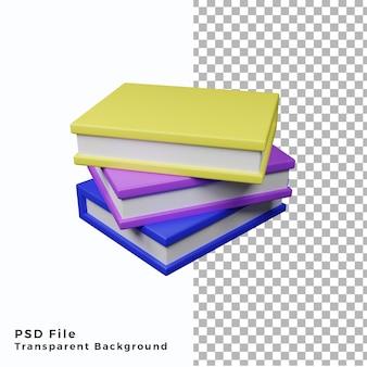 3d livres icône illustration fichiers psd de haute qualité