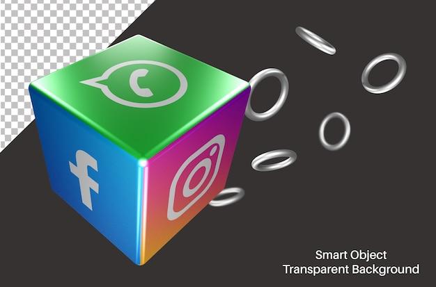 Dés 3d avec logo de médias sociaux whatsapp