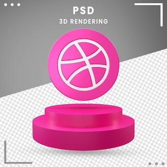 3d, logo, rotation, icône, dribbble, isolé