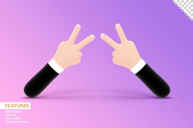 3d mains geste deux doigts