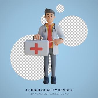 3d male doctor portant une illustration de personnage de sac de médecine