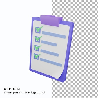 3d note vérifier illustration icône haute qualité