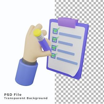3d note vérifier main geste illustration icône haute qualité