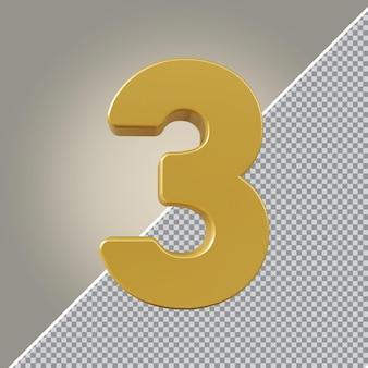 3d numéro 1 luxe doré