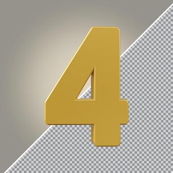 3d numéro 4 luxe doré
