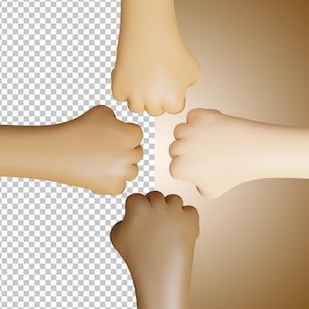 3d quatre mains avec différents tons de peau fond transparent