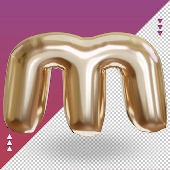 3d réaliste lettre m vue de face de ballon en feuille d'or